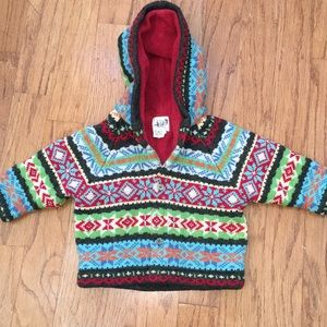 Baby GAP sweater coat with hood 12-18 months